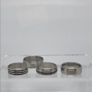 Set of 4 Silver Stainless Steel Rings